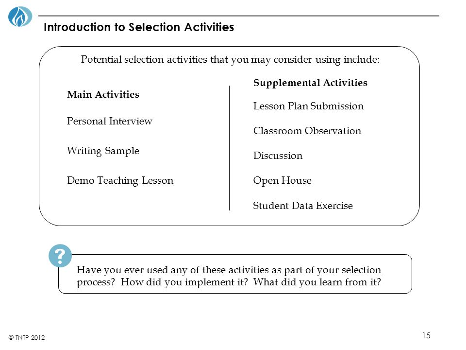 Introduction to Selection Activities