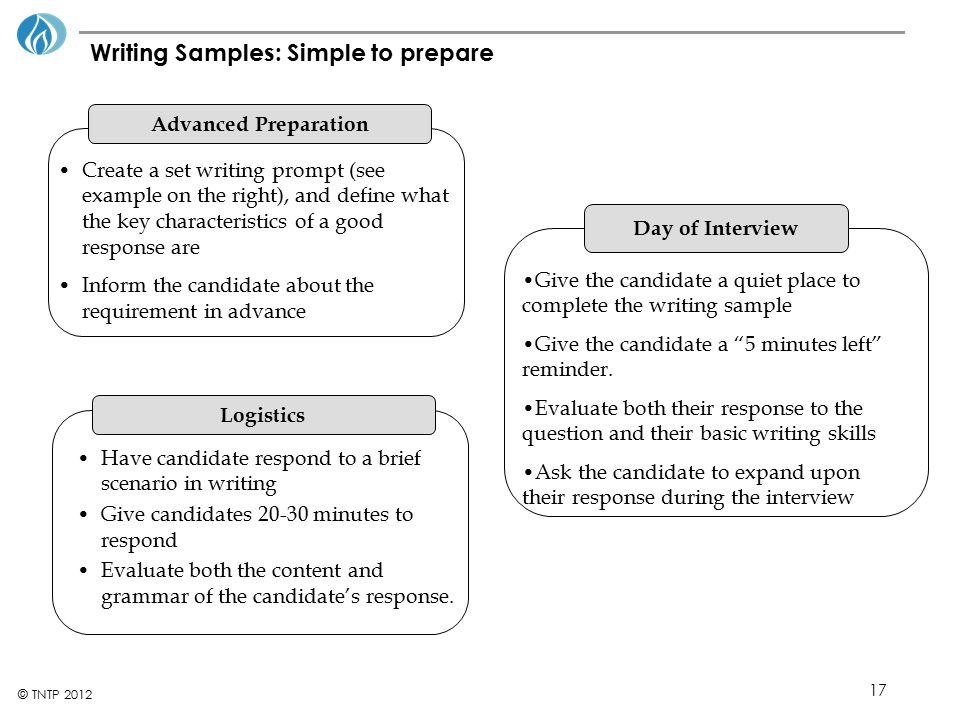 Writing Samples: Simple to prepare
