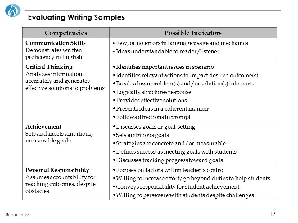 Evaluating Writing Samples
