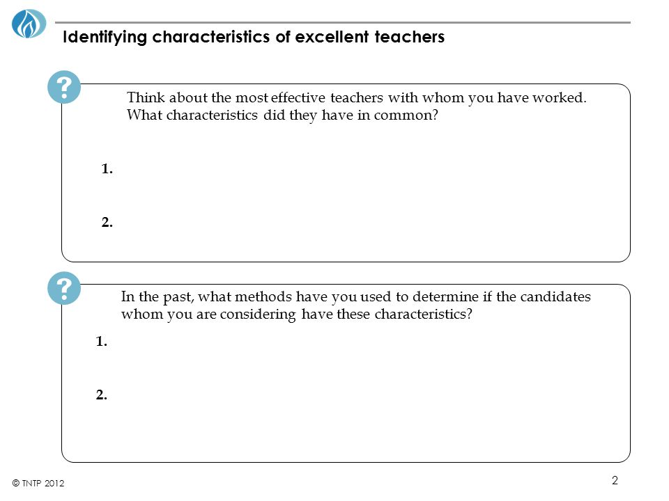 Identifying characteristics of excellent teachers