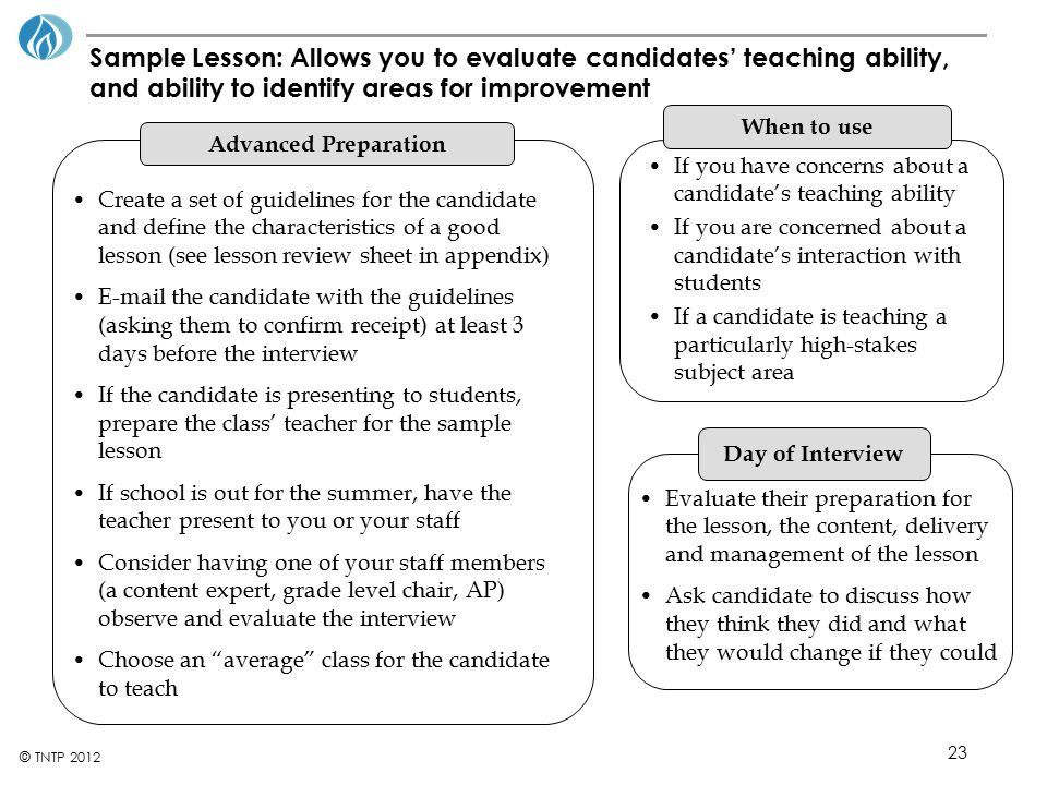 Sample Lesson: Allows you to evaluate candidates' teaching ability, and ability to identify areas for improvement