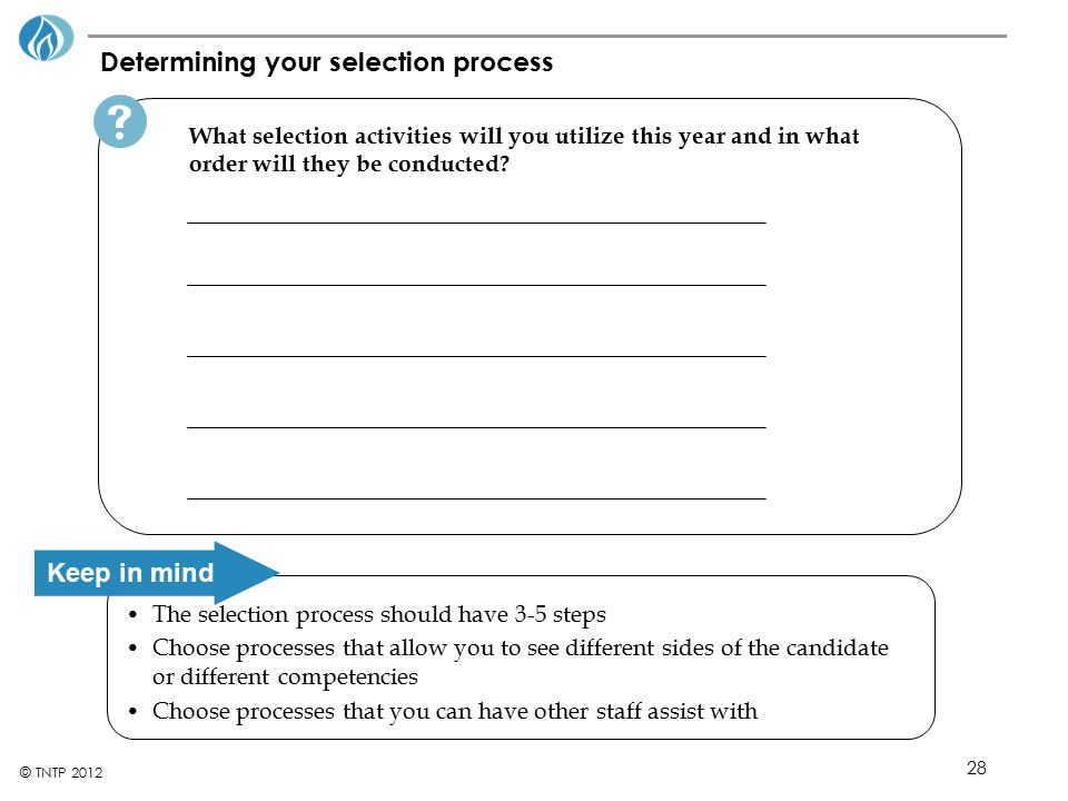 Determining your selection process