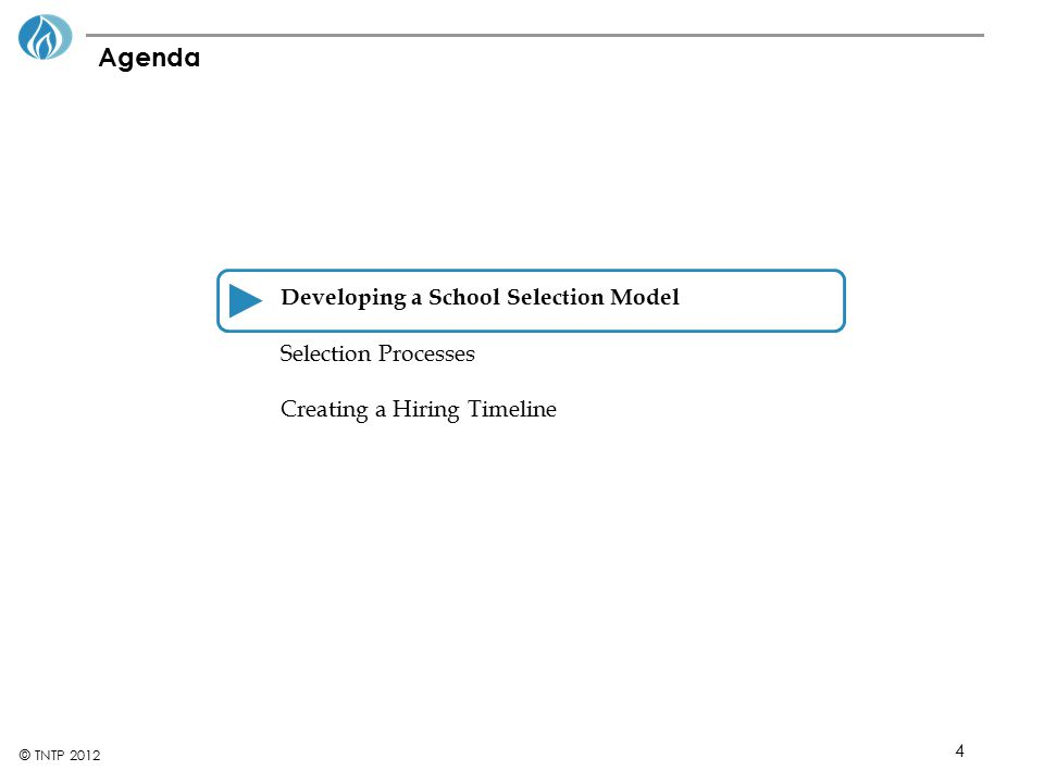 Agenda Developing a School Selection Model Selection Processes