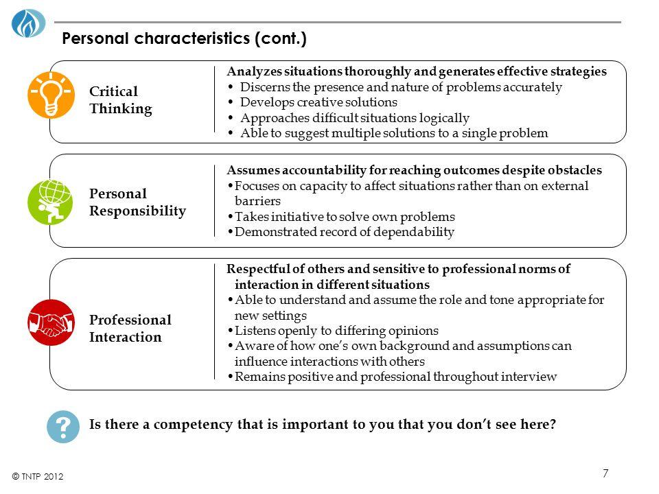 Personal characteristics (cont.)