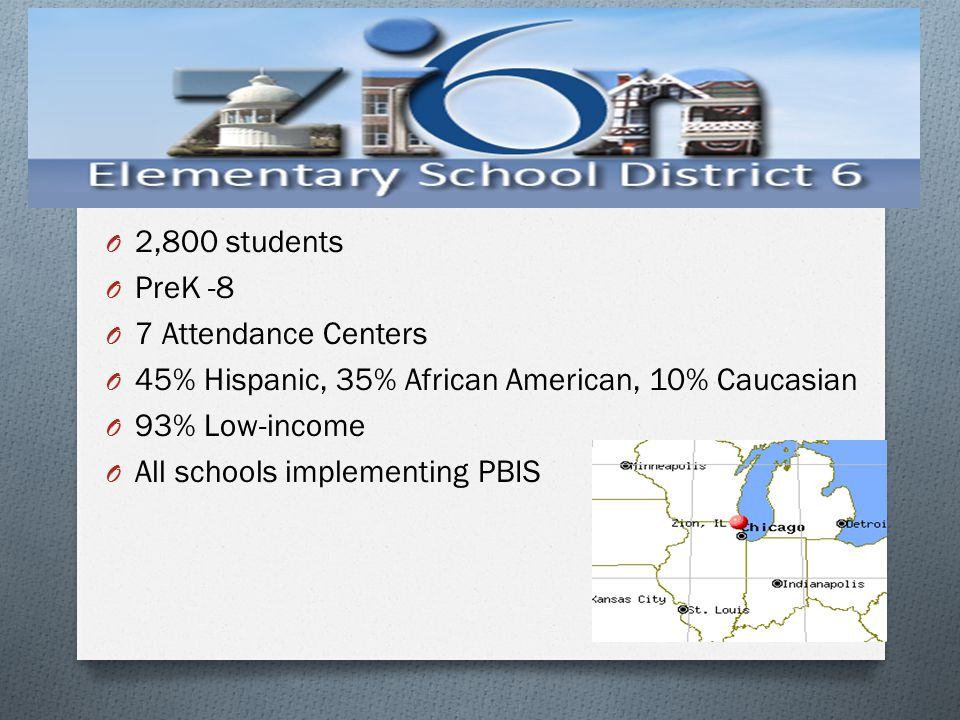 2,800 students PreK -8. 7 Attendance Centers. 45% Hispanic, 35% African American, 10% Caucasian. 93% Low-income.