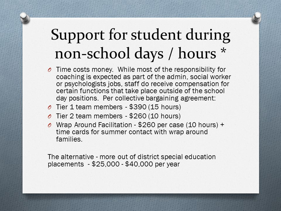Support for student during non-school days / hours *