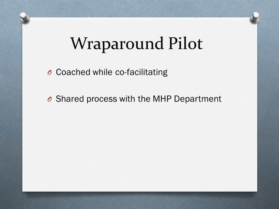 Wraparound Pilot Coached while co-facilitating
