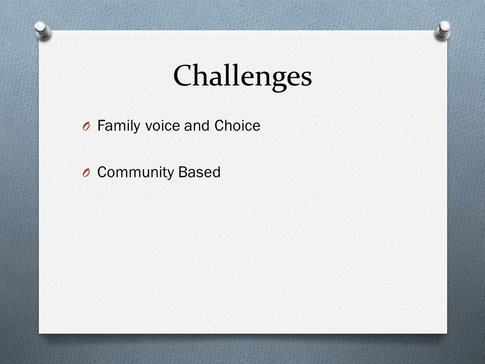Challenges Family voice and Choice Community Based