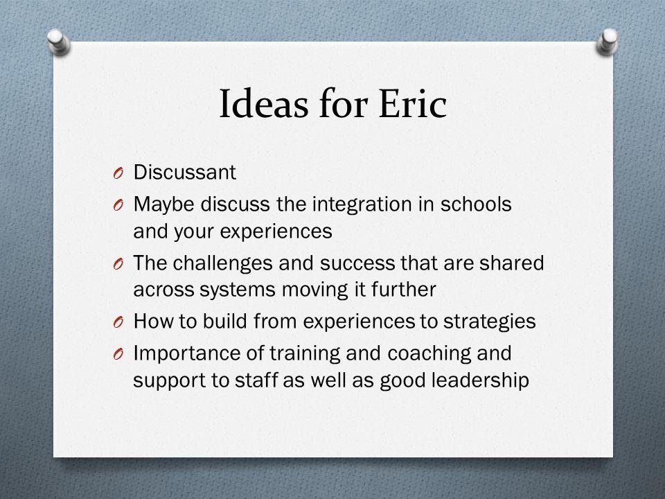 Ideas for Eric Discussant