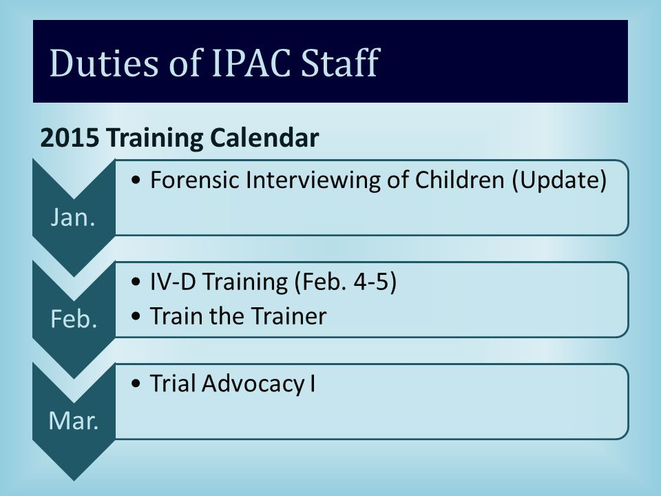 Duties of IPAC Staff 2015 Training Calendar Jan.