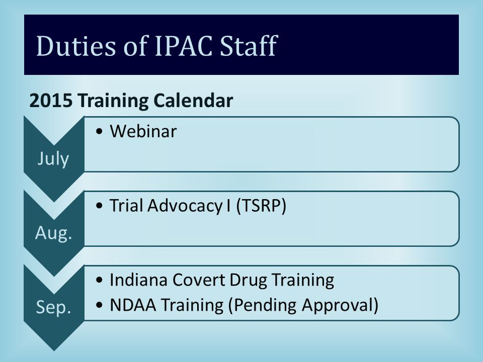 Duties of IPAC Staff 2015 Training Calendar July Webinar Aug.