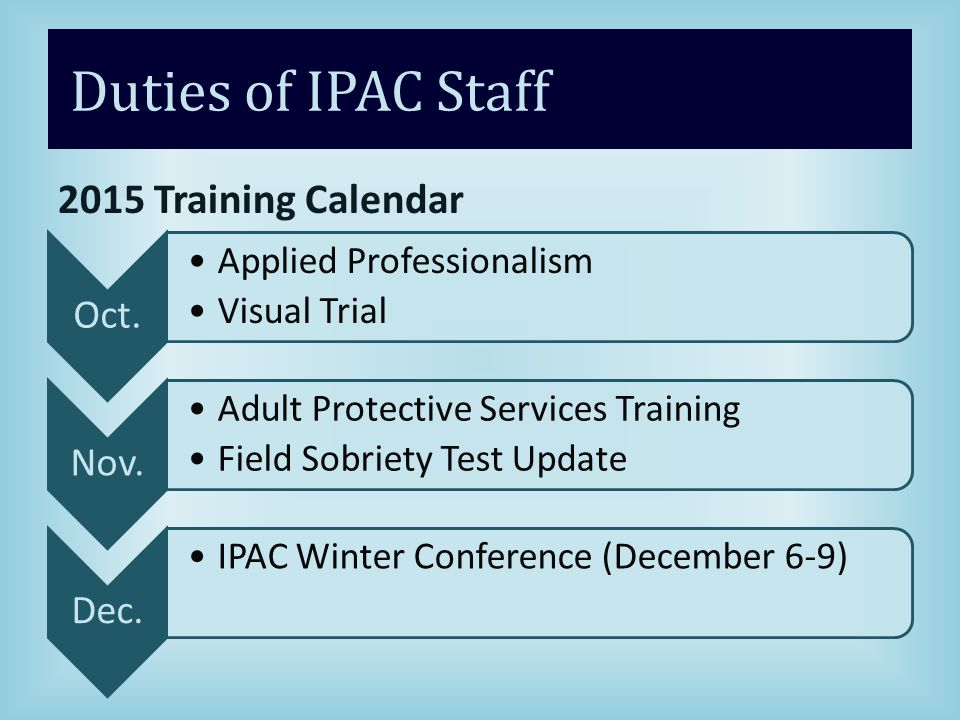 Duties of IPAC Staff 2015 Training Calendar Oct.