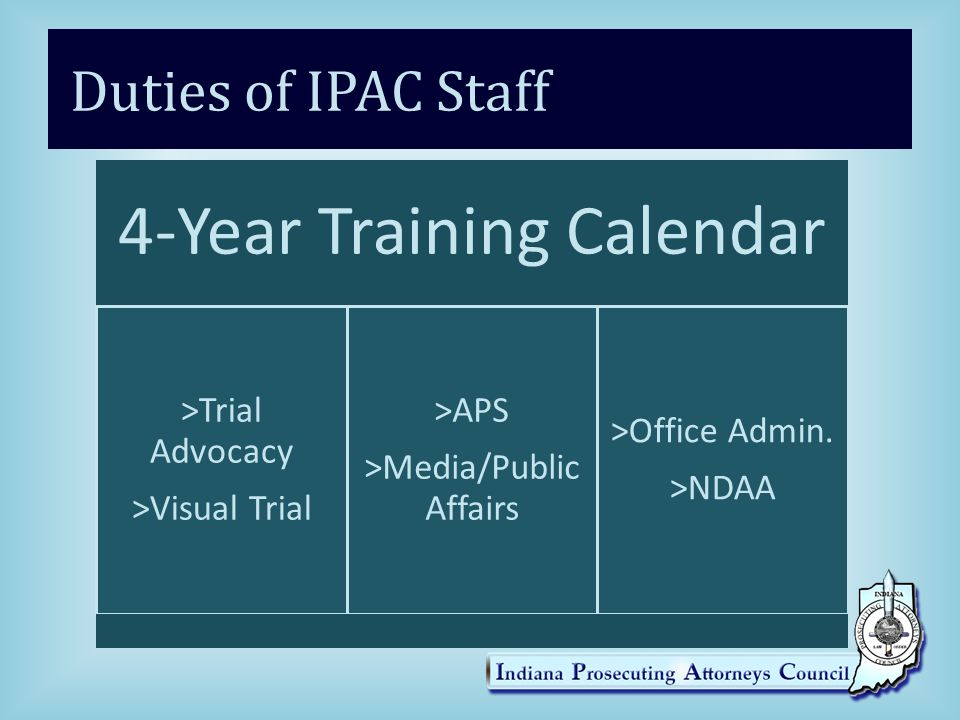 Duties of IPAC Staff 4-Year Training Calendar >Trial Advocacy