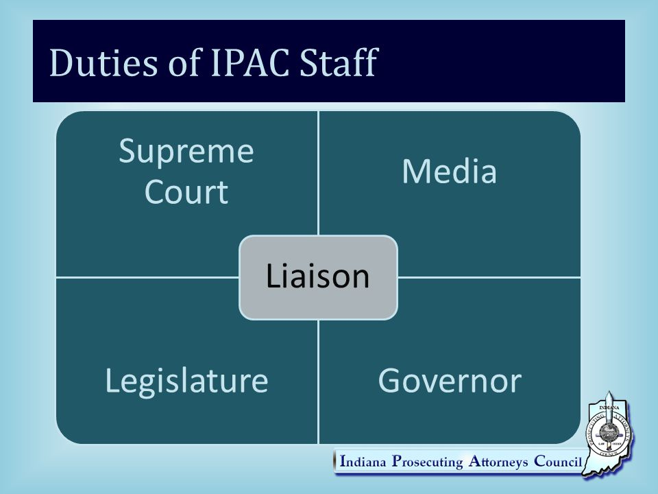 Duties of IPAC Staff Liaison Supreme Court Media Legislature Governor