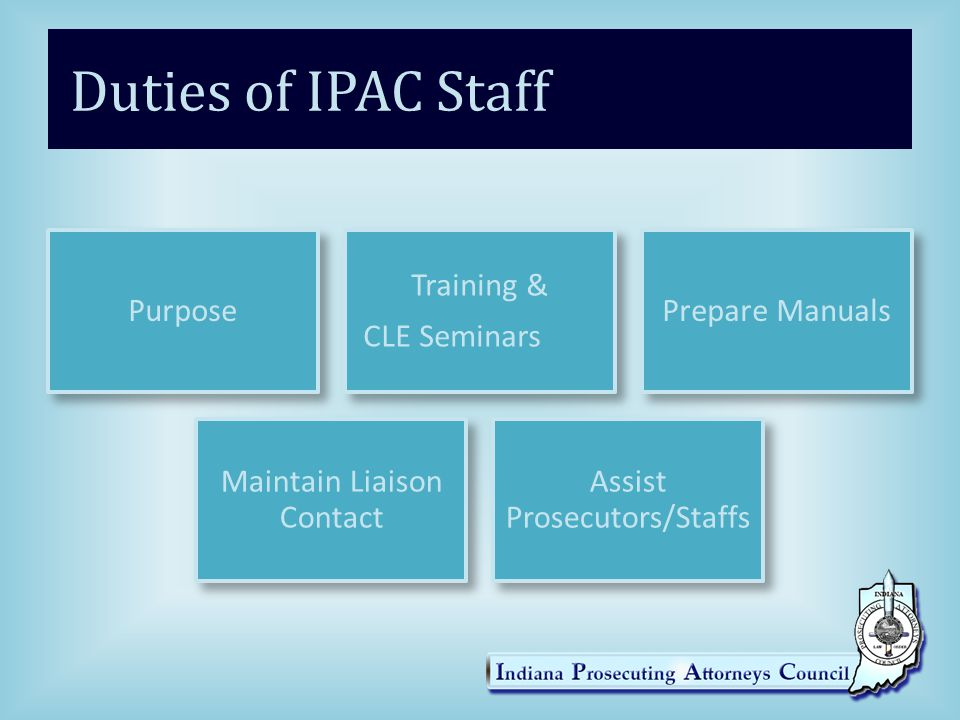 Duties of IPAC Staff Purpose Training & CLE Seminars Prepare Manuals