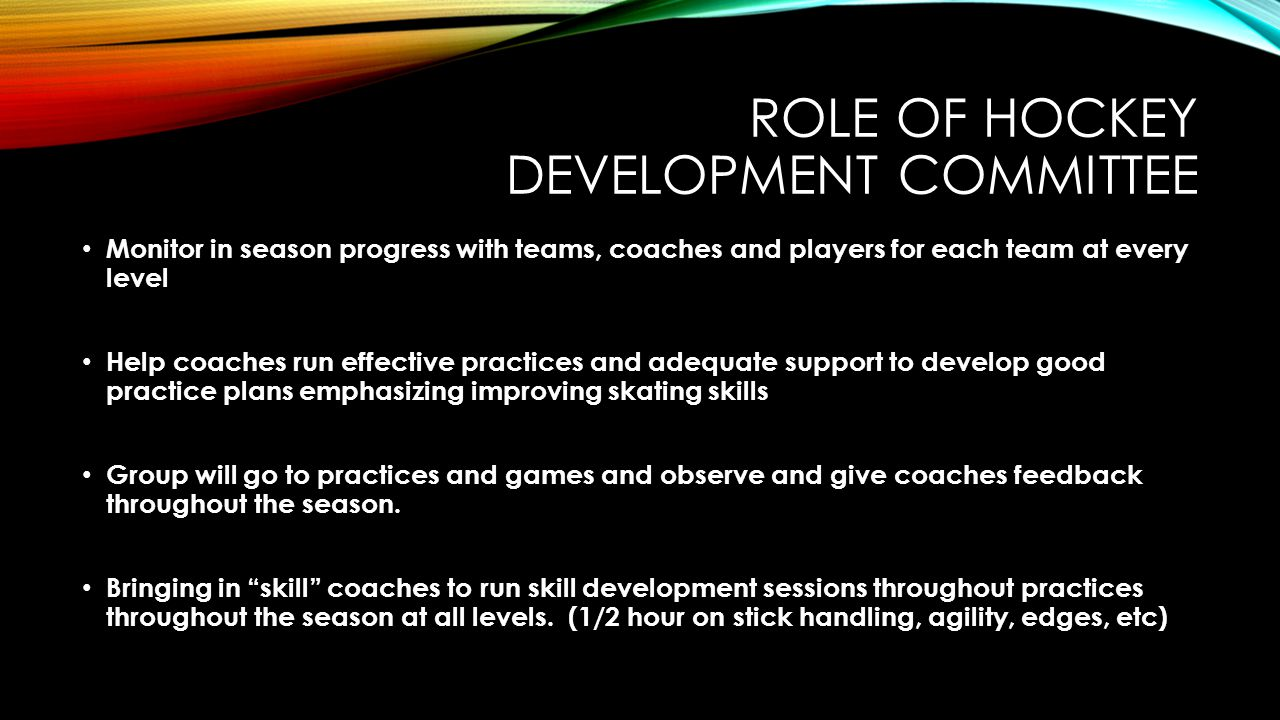 ROLE OF Hockey Development COMMITTEE