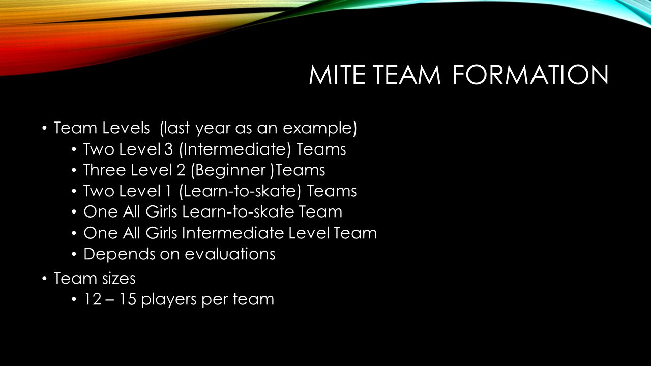 MITE TEAM FORMATION Team Levels (last year as an example)