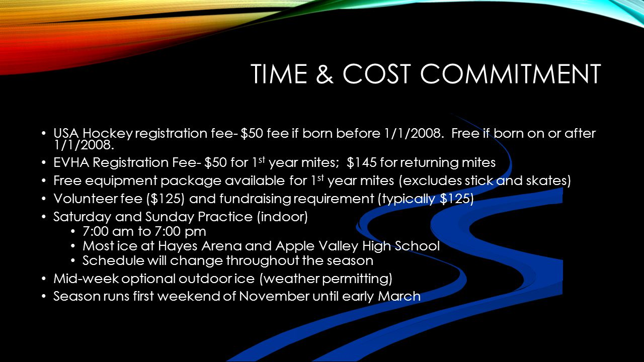 Time & Cost Commitment USA Hockey registration fee- $50 fee if born before 1/1/2008. Free if born on or after 1/1/2008.