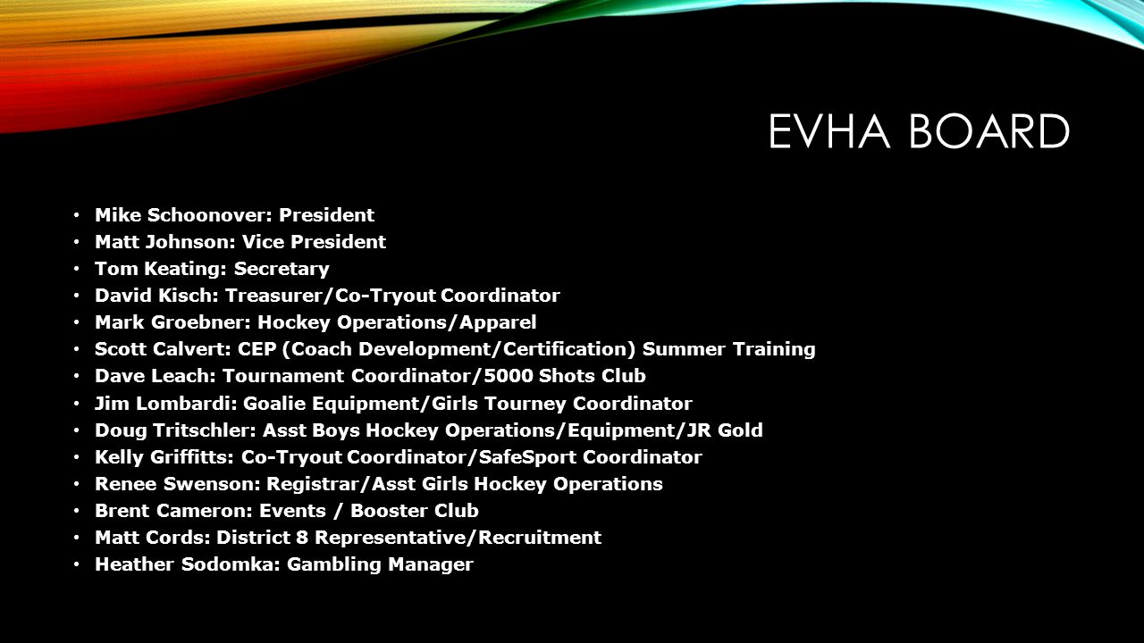 EVHA BOARD Mike Schoonover: President Matt Johnson: Vice President
