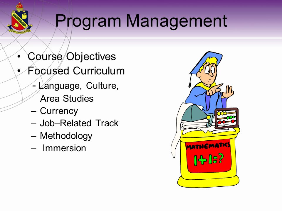 Program Management Course Objectives Focused Curriculum