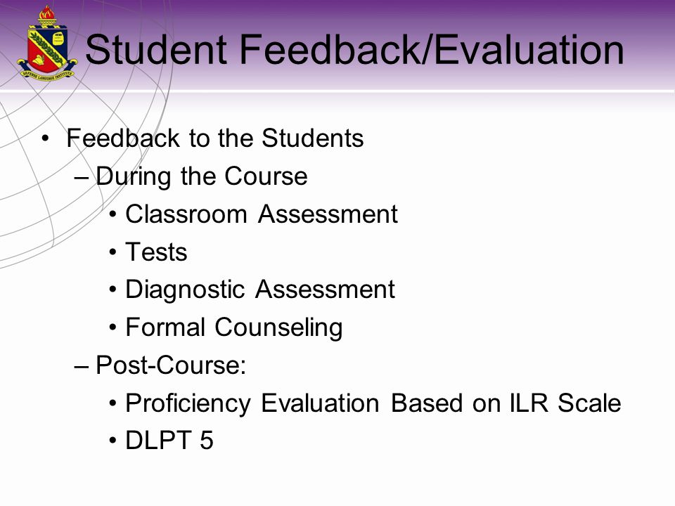 Student Feedback/Evaluation