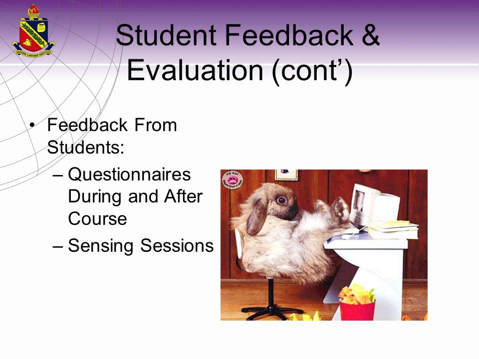 Student Feedback & Evaluation (cont')
