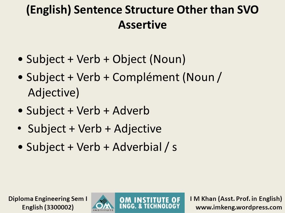 (English) Sentence Structure Other than SVO Assertive