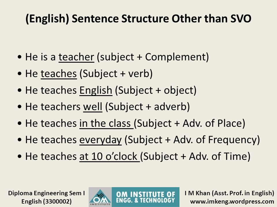 (English) Sentence Structure Other than SVO