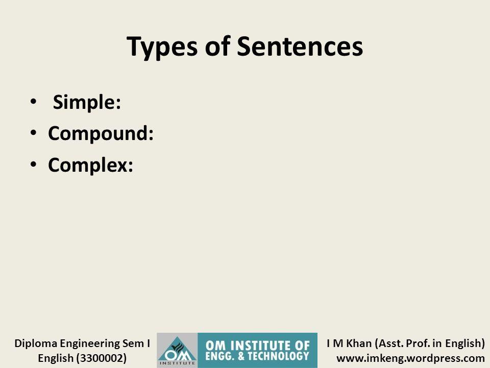 Types of Sentences Simple: Compound: Complex: