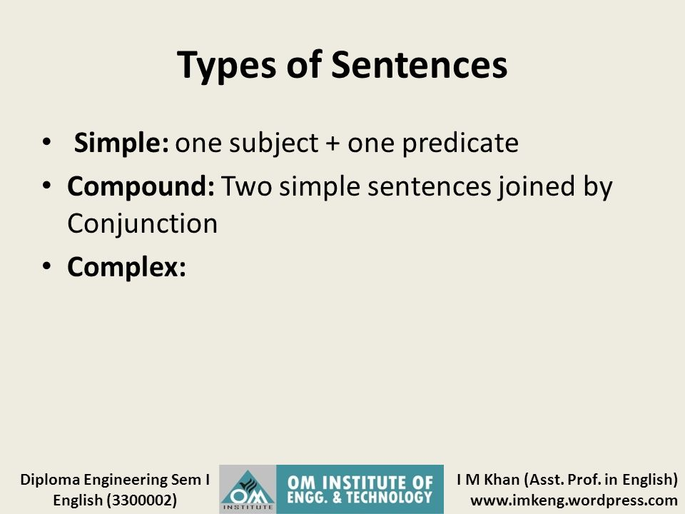 Types of Sentences Simple: one subject + one predicate