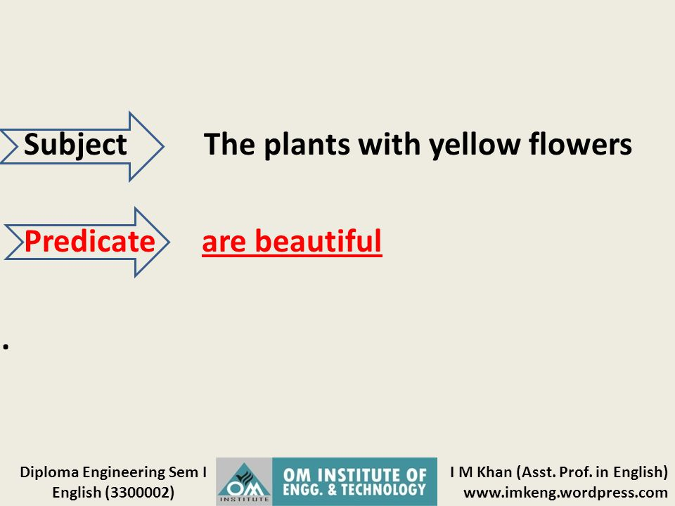 Subject The plants with yellow flowers Predicate are beautiful .