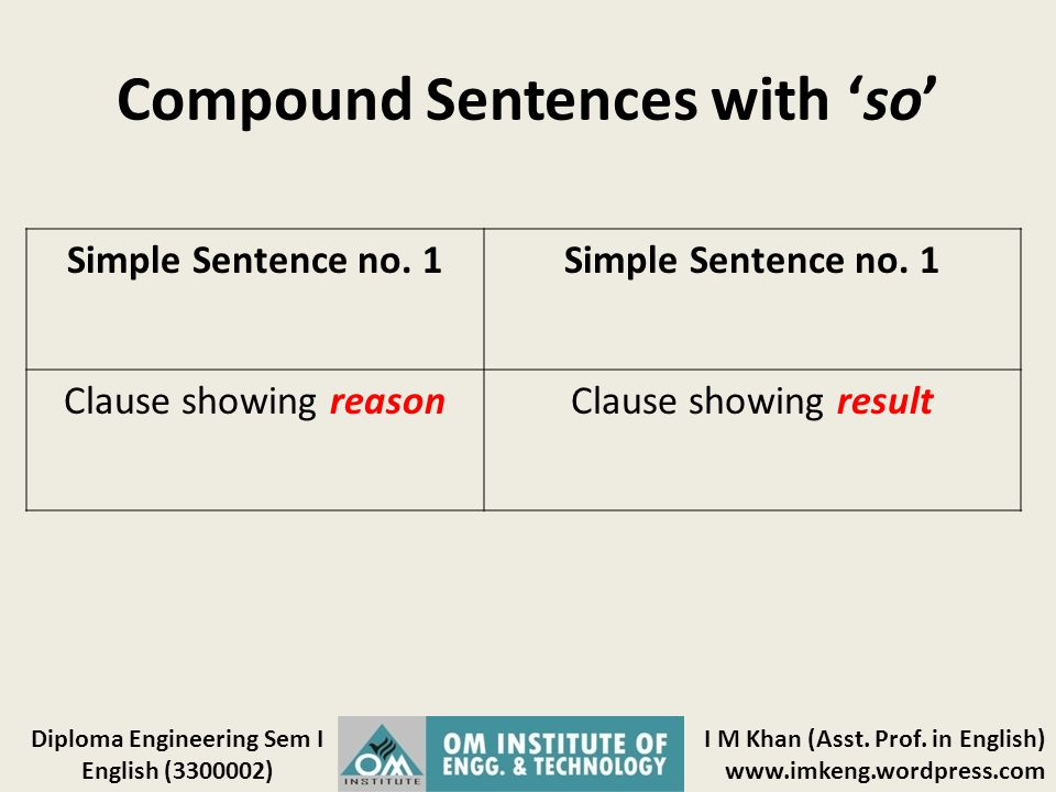 Compound Sentences with 'so'