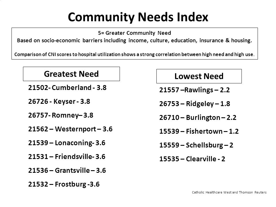 5= Greater Community Need