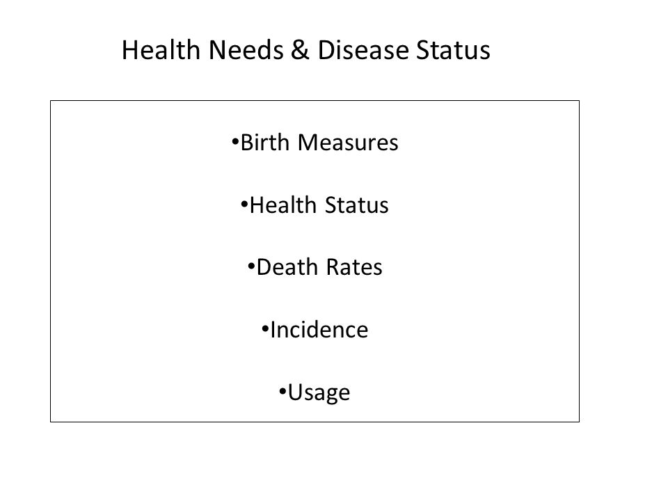 Health Needs & Disease Status