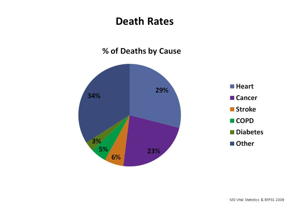Death Rates Death Rates- Burden of Chronic Disease43-In Allegany County, heart disease, cancer and stroke account for 58% of deaths.