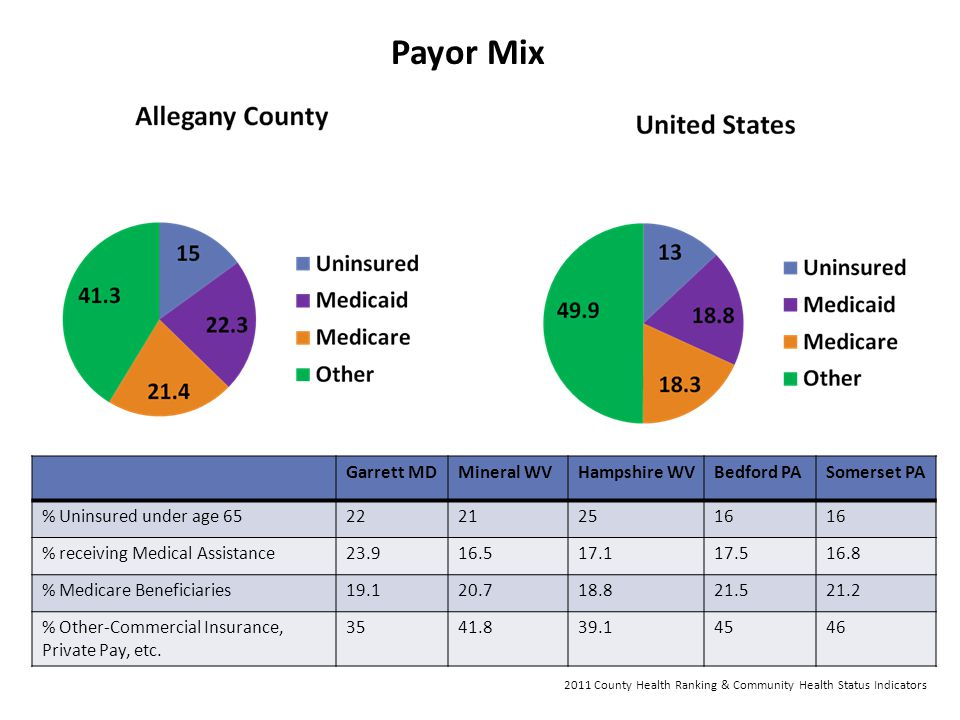 Payor Mix Garrett MD Mineral WV Hampshire WV Bedford PA Somerset PA