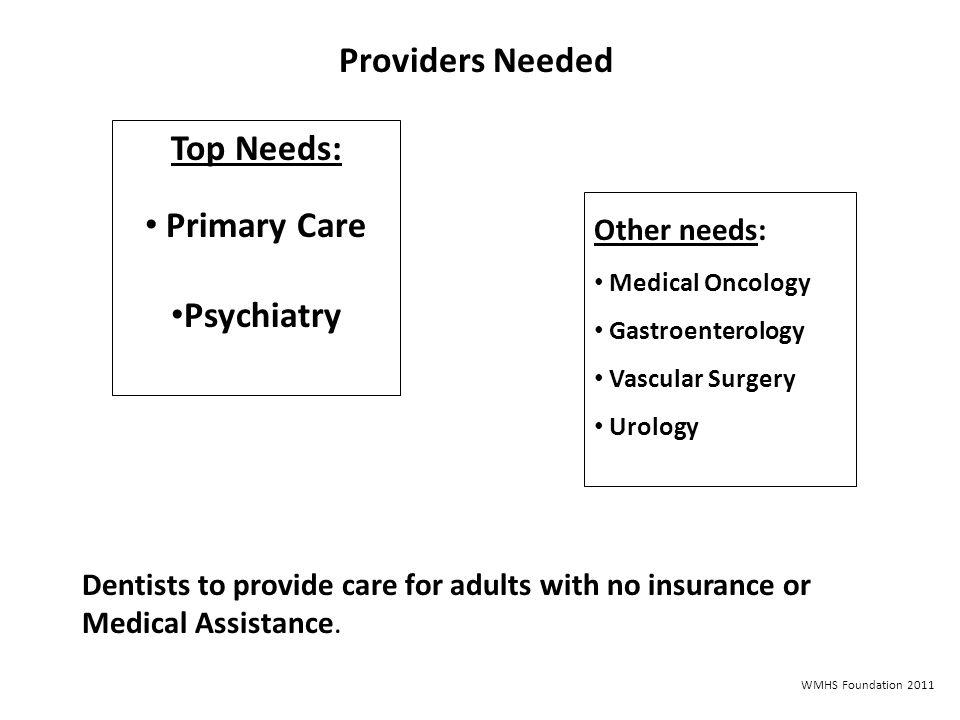 Providers Needed Top Needs: Primary Care Psychiatry