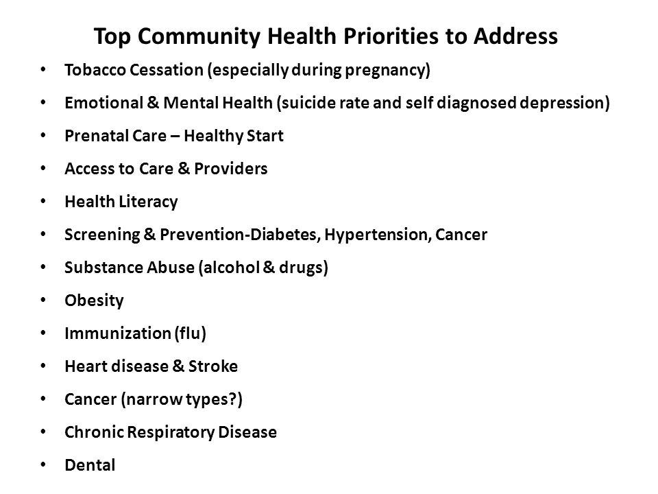 Top Community Health Priorities to Address