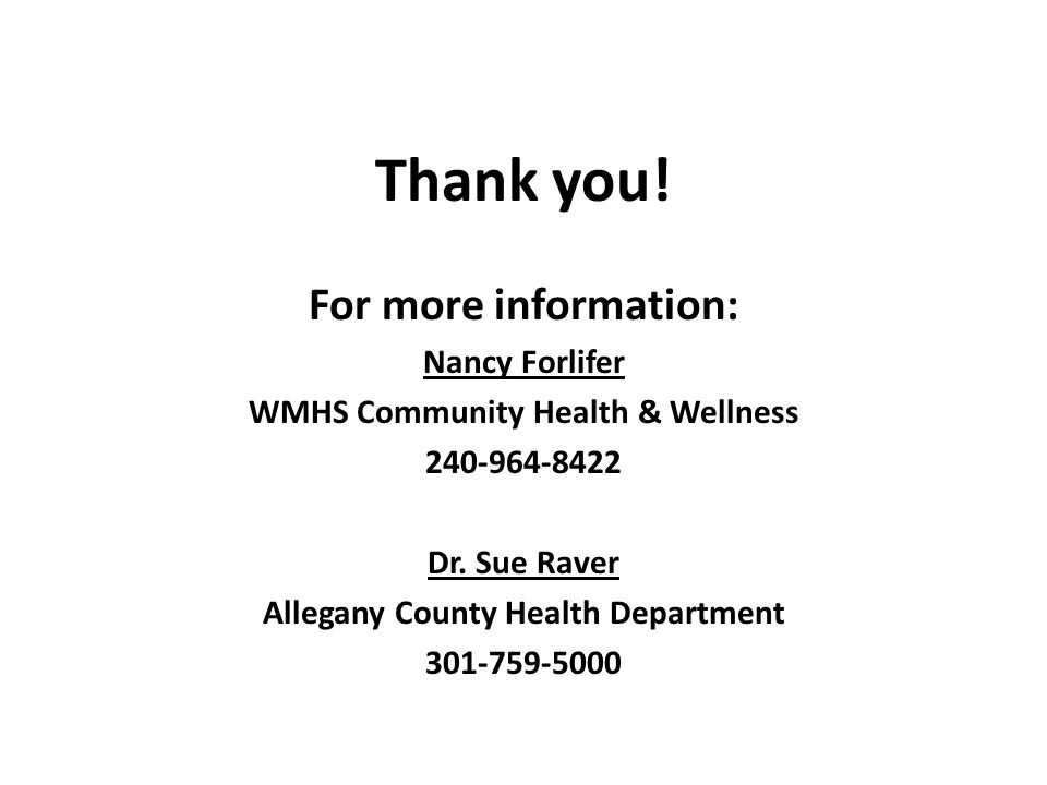 WMHS Community Health & Wellness Allegany County Health Department