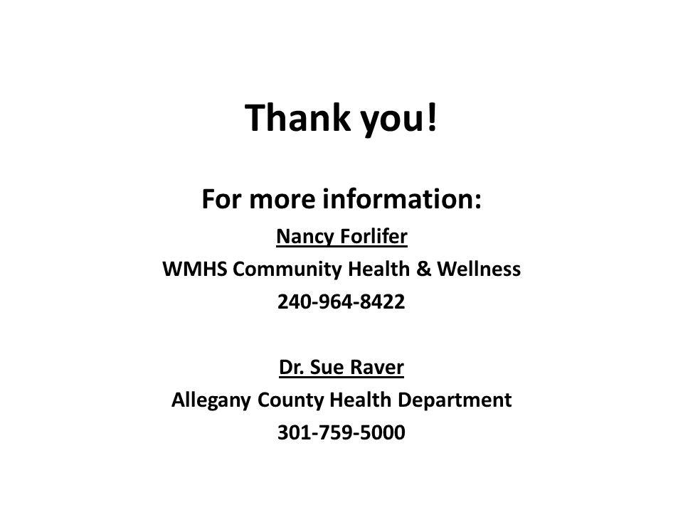 WMHS Community Health & Wellness Allegany County Health Department