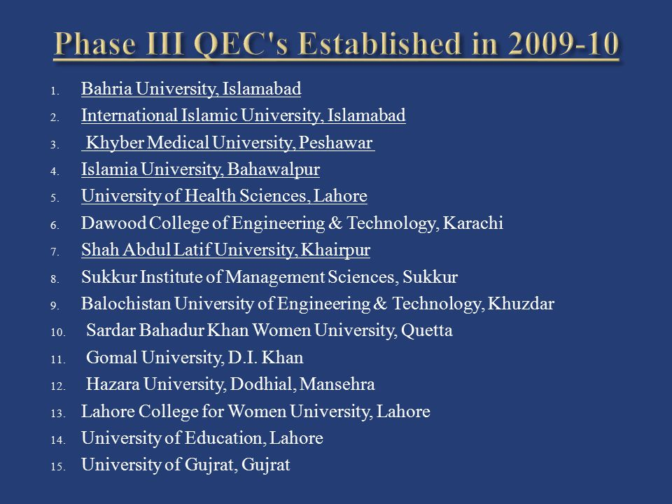 Phase III QEC s Established in 2009-10