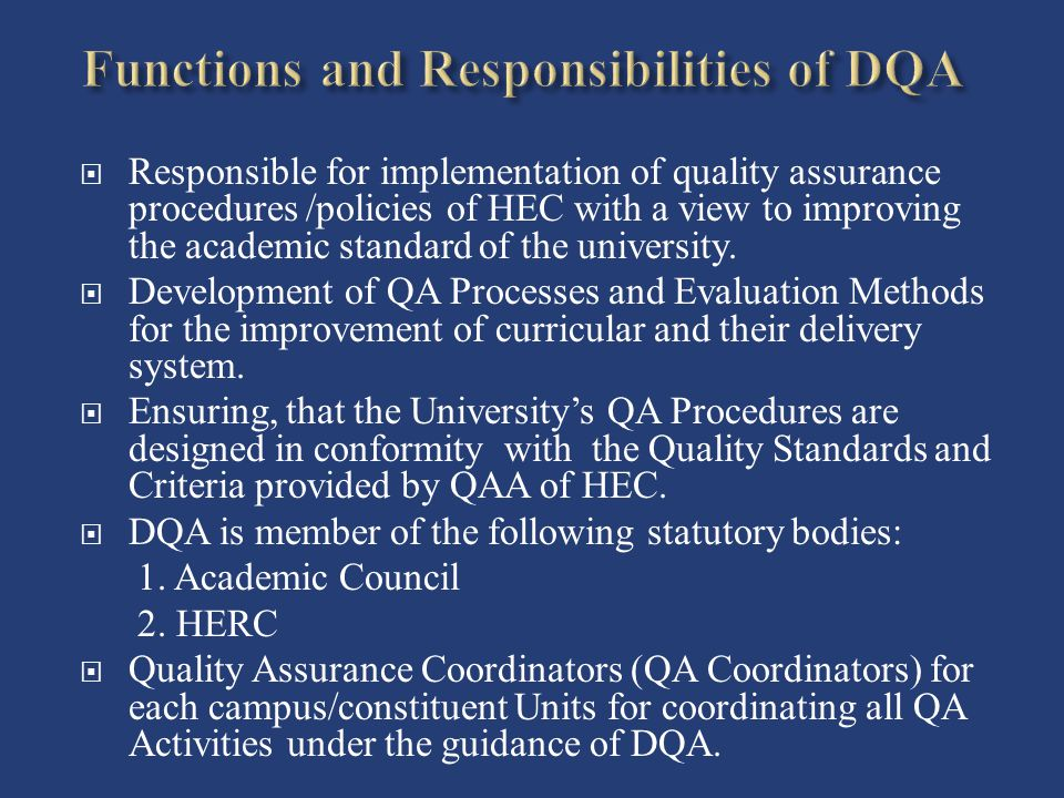 Functions and Responsibilities of DQA