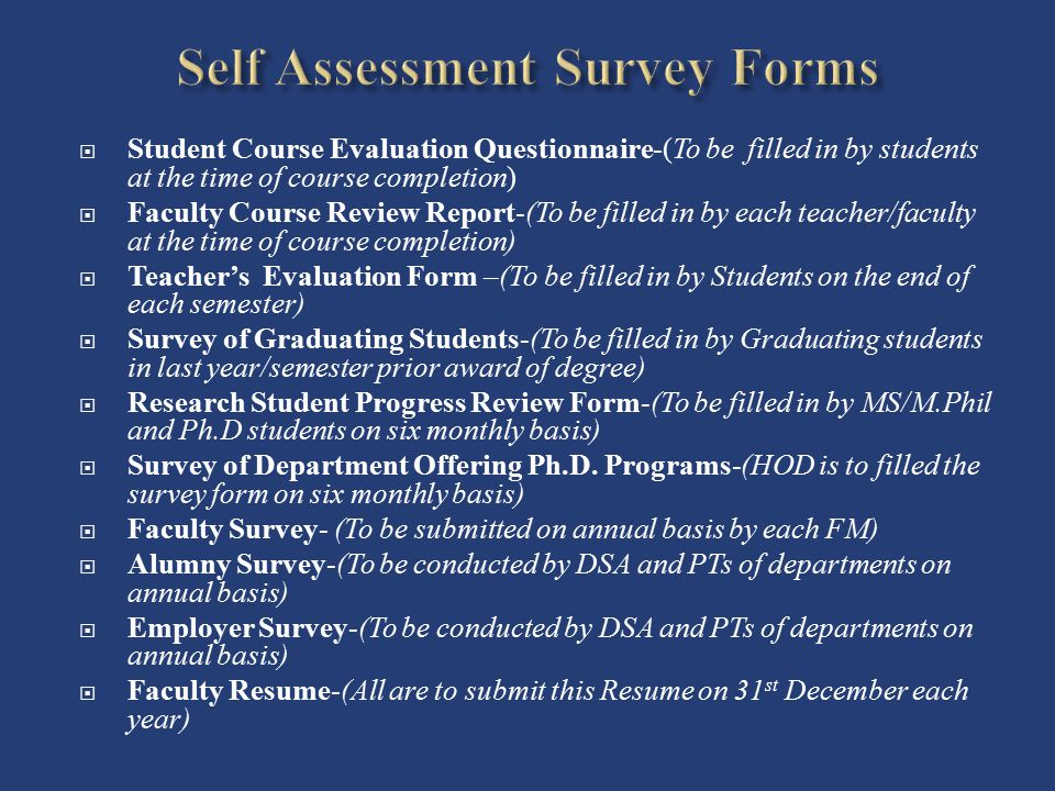 Self Assessment Survey Forms