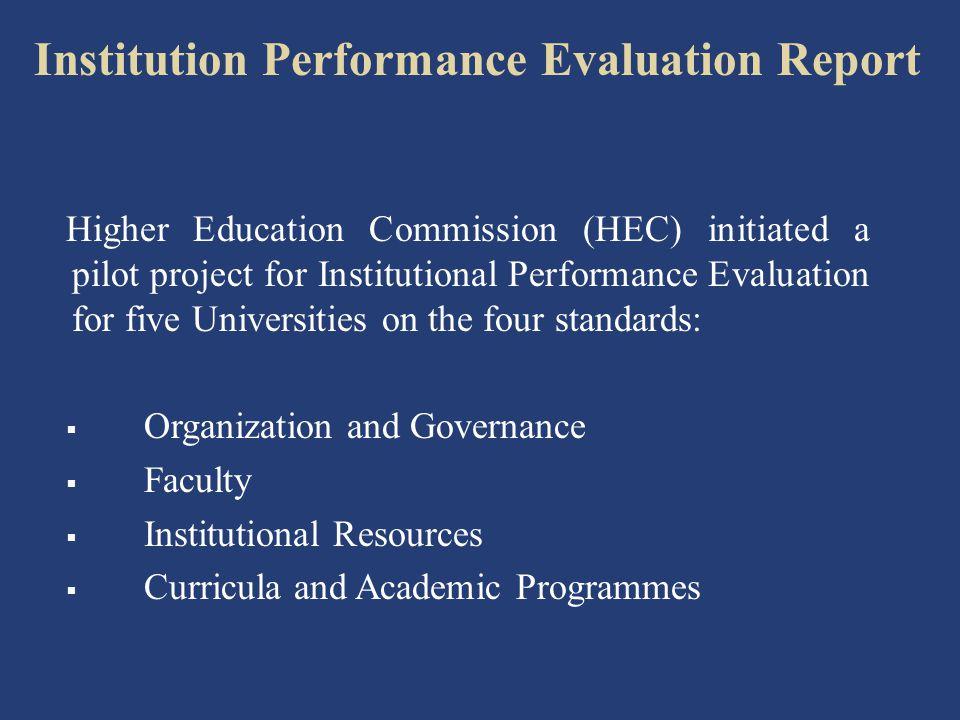 Institution Performance Evaluation Report