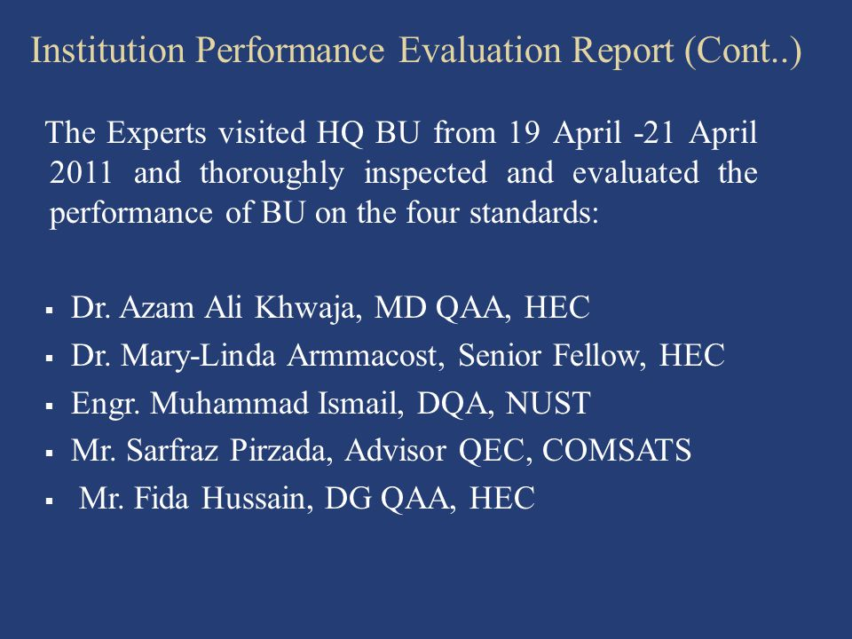 Institution Performance Evaluation Report (Cont..)