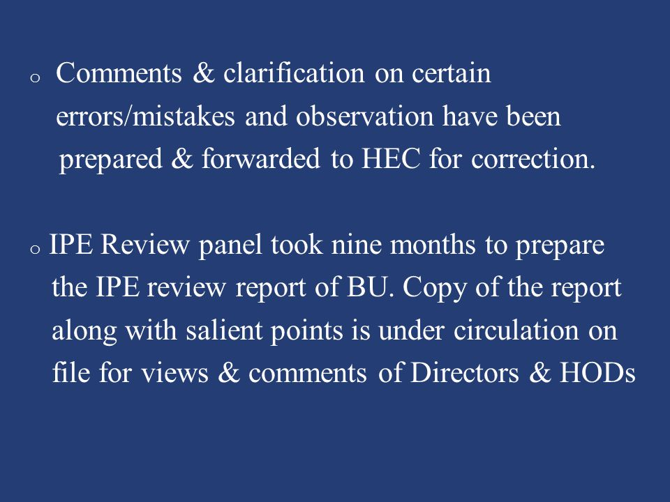 Comments & clarification on certain