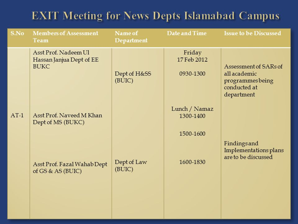 EXIT Meeting for News Depts Islamabad Campus