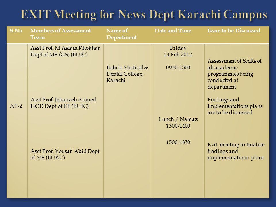 EXIT Meeting for News Dept Karachi Campus