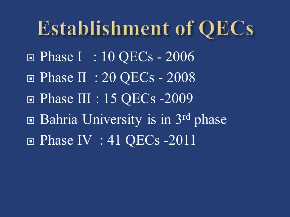 Establishment of QECs Phase I : 10 QECs - 2006