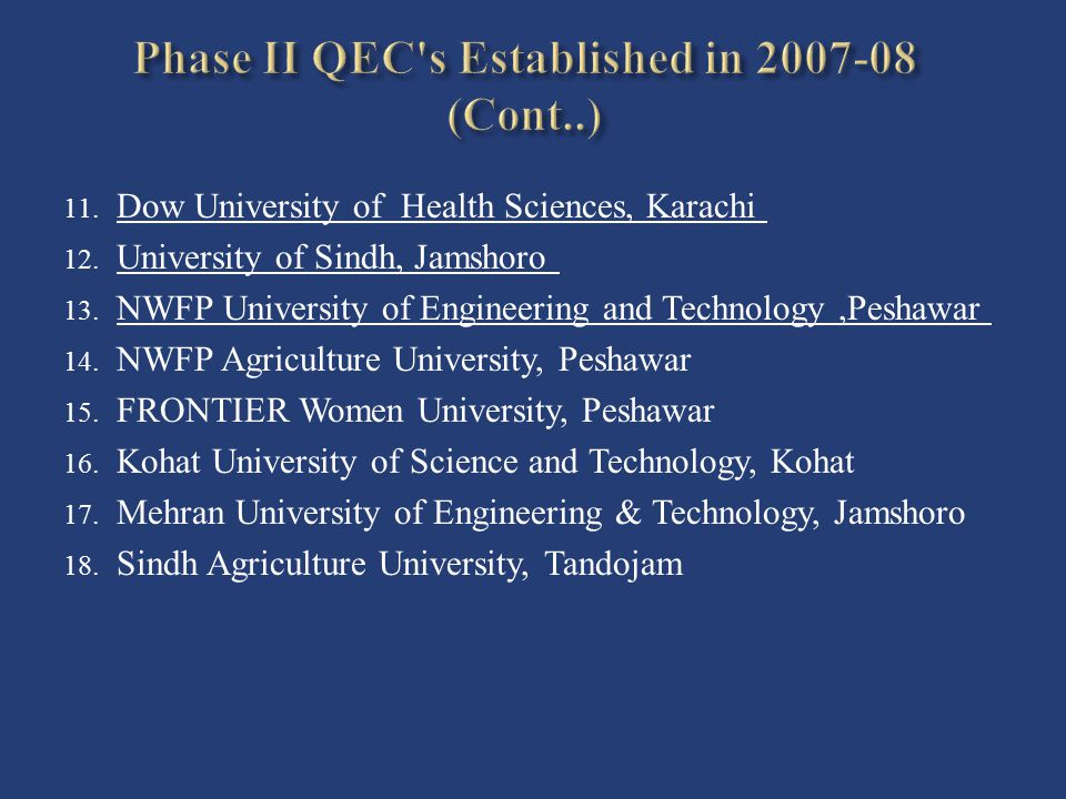 Phase II QEC s Established in 2007-08 (Cont..)